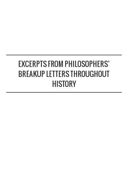 Excerpts from Philosophers' Breakup Letters Throughout History
