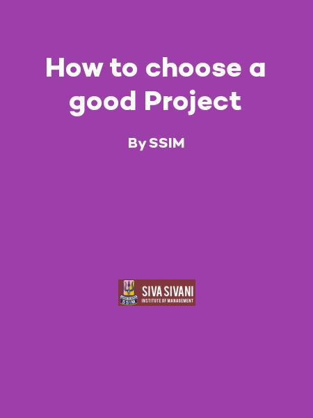 How to choose a good Project