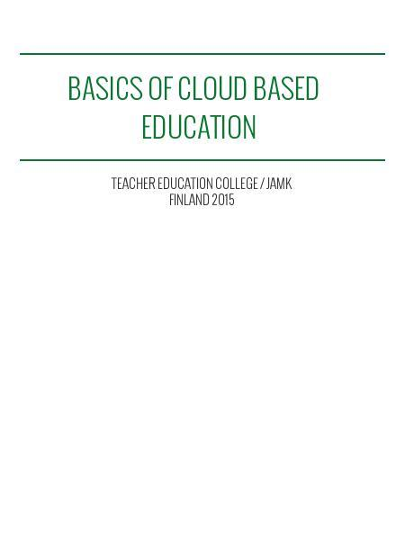 Basics of Cloud based education