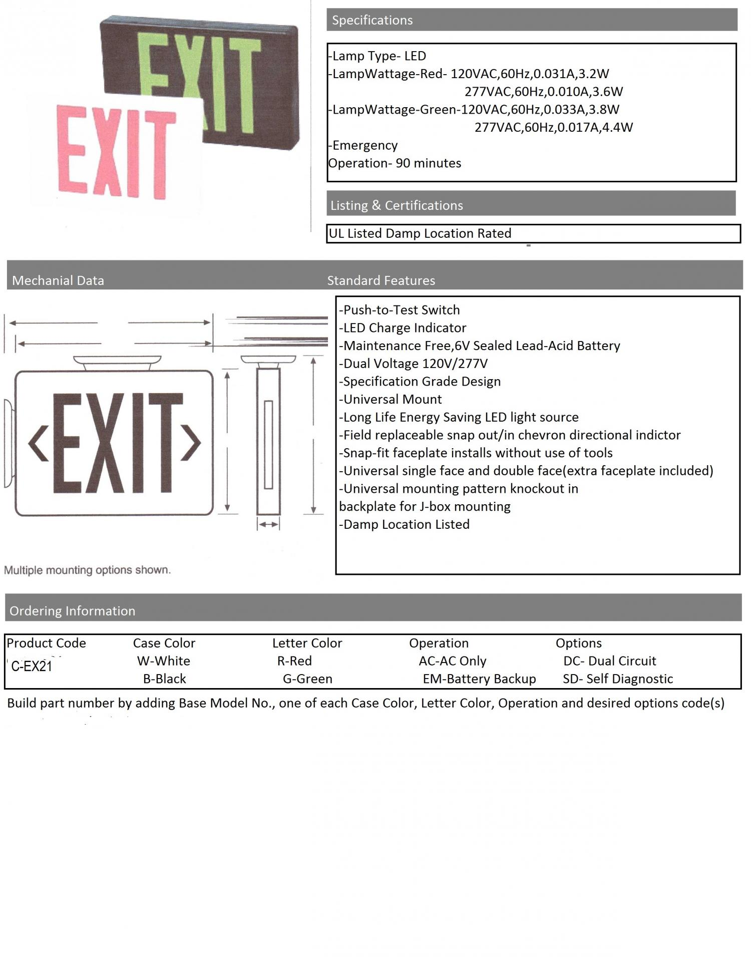 Candalux Lighting For All Your Needs Candaluxcom Exit Sign Wiring Diagram 120v 277v C Ex21